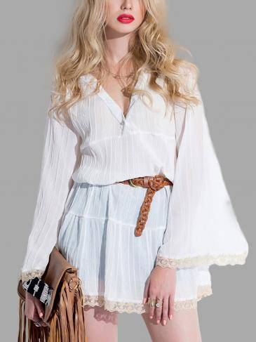 V-neck Chiffon Shirt with Flare Sleeves