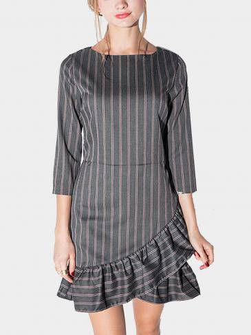 Stripe Irregular Flounced Hem Dress
