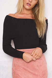 Black Sexy Off Shoulder Long Sleeves Jumper