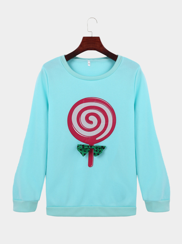 Round Neck Lollipop Print Fashion Sweatshirt in Blue