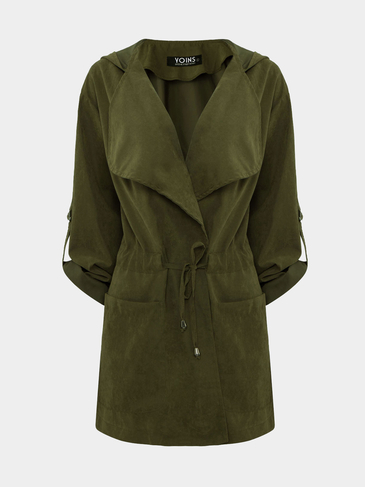Green Hooded Drawstring Pockets Trench Coat