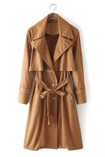 Tie Waist Suedette Trench Coat in Khaki