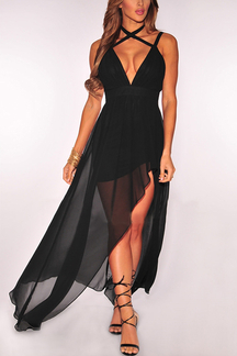 Black Plunge Halter Design Slit Details Maxi Dress