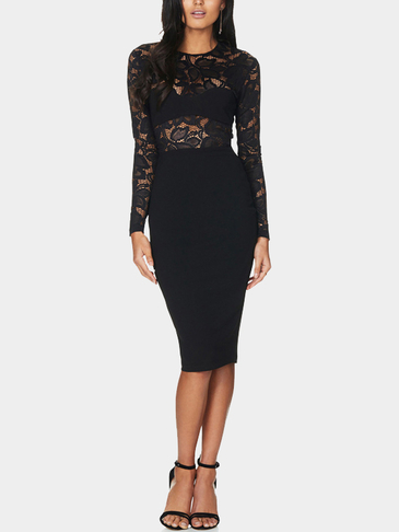 Sexy Long Sleeves Lace Details Bodycon Dress