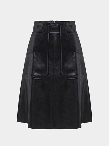 Black A Line Midi Skirt in Leather Look