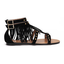 Black Studded Pin Buckle Ankle Strap Tassel Detail Flat Sandals