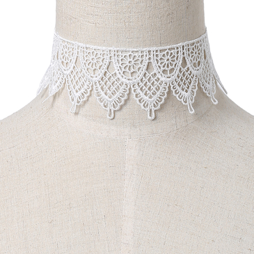 White Lace Design Hollow Choker Necklace