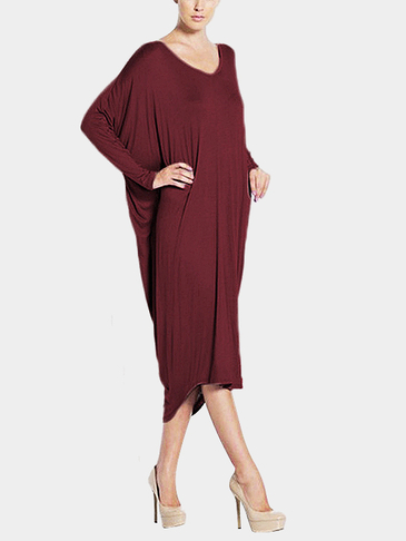Burgundy Loose Backless Long Sleeves Irregular Casual Dress