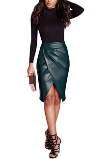 Dark Green Leather-look Velvet Wrap Splited Midi Skirt