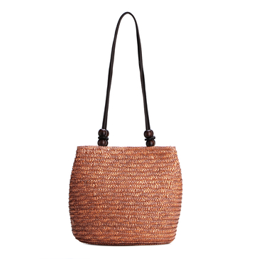 Brown Woven Top Clasp Magnetic Closure Shoulder Bags