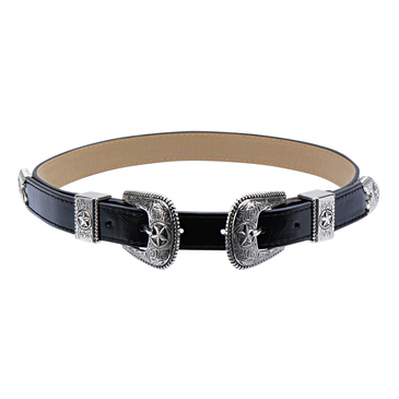 Star Carving Double Buckle Waist Belt