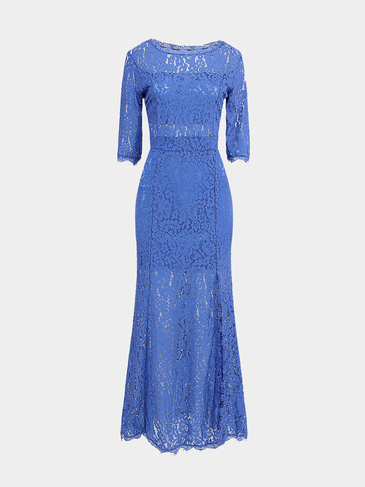 Blue Lace Open Back Maxi Dress