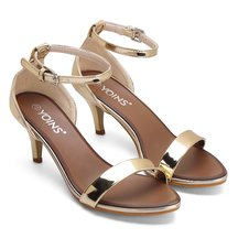 Rose One Strap Across Pin Buckle Closure Simple Style Heeled Sandals