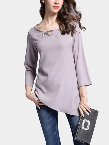 Grey Fashion Long Sleeves Asymmetric Top