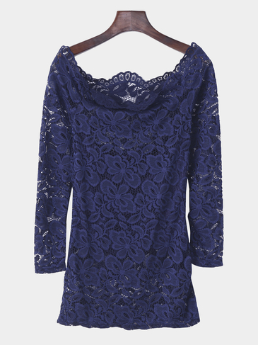 Sexy Blue Off Shoulder Lace Design Long Sleeve Blouse