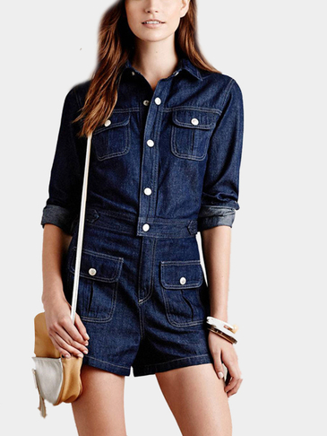Navy Denim Romper With Four Pockets