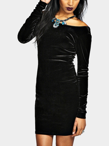 Black Velvet Body-Conscious Dress with Open Back