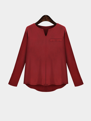 Plus Size V Neckline Long Sleeve Loose Fit Blouse in Burgundy
