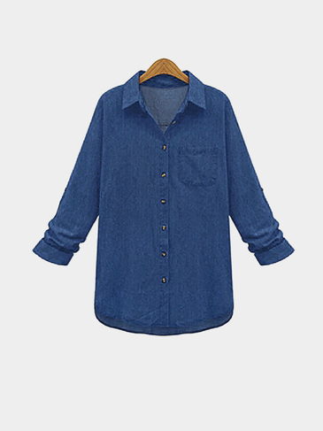 Plus Size Deep Blue Classic Denim Shirt
