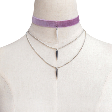 Purple Velvet & Iron Chain Layered Design Rivet Pendant Necklace