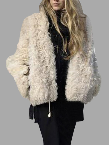 Beige Open Front Cape Artificial Fur Duster Coat