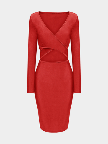 Cross Front Midi Dress in Red