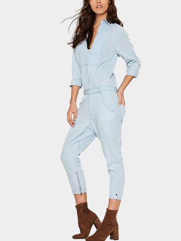 Fashion Low Neckline Jumpsuit with 3/4 Length Sleeves