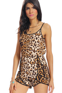 Sexy Style Leopard Print Backless Adjustable Shoulder Straps Tie Back Playsuit
