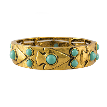 Studded Stone Stretch Bracelet in Gold