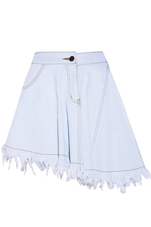 Blue Denim Asymmetric Mini Skirt With Raw Hem