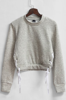 Grey High Neck Cropped Sweatshirt