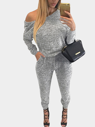 Light-gray Drawstring Waist Casual Jumpsuit with Two Pockets