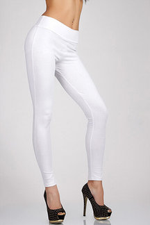 White Zip Closure Leggings