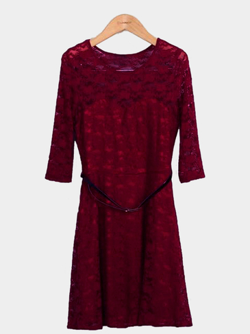 Burgundy Lace Skater Dress with Belt