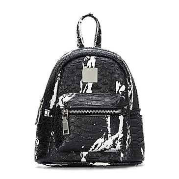 Black Croc Leather-look Mini Backpack with Decorative Detailing