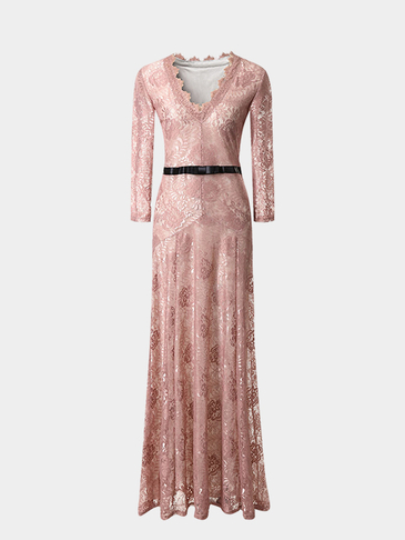 Pink Maxi Dress With Eyelash Lace Trim