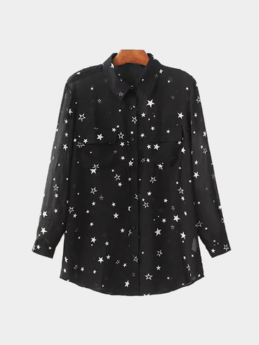 See-through Black Lapel Neck Random Star Pattern Shirt