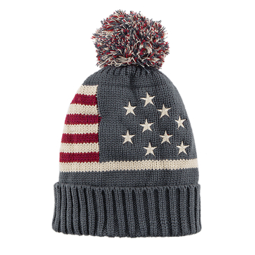 Grey Star and Stripe Pattern Knit Bobble Beanie Hat