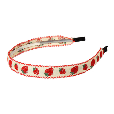 Pastoral Strawberry Embroidered Headband