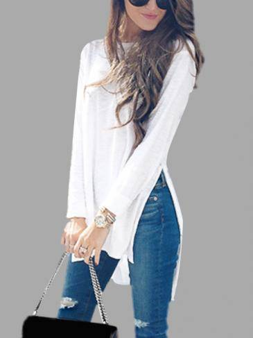 White Scoop Neck See-through Splited Hem Top