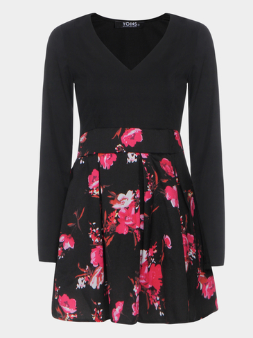 Black V-neck Random Floral Print Mini Dress