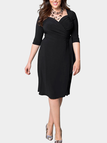 Black Plus Size Cropped Sleeves Wrap Dress