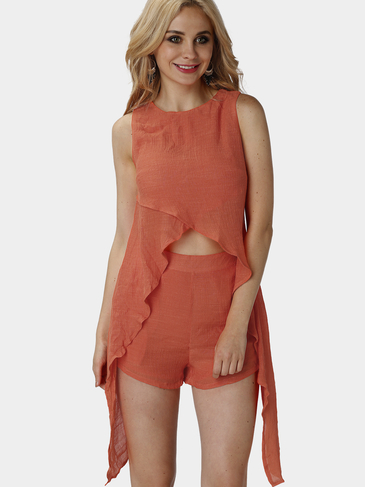 Orange Sleeveless Convertible Co-ord