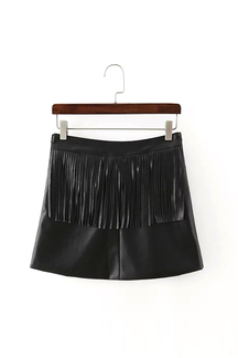 Fringe-embellished Leather-look Skirt
