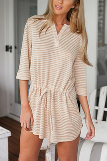 V-neckline Drawstring Stripe Mini Dress