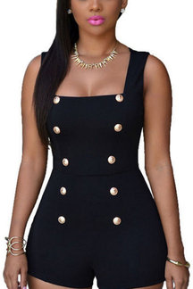 Black Bodycon Square Neck  Dungaree With Double Breasted