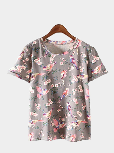 Grey Casual Floral Print Short Sleeve T-shirt