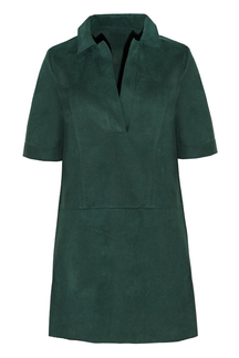 Dark Green Suedette Shift Dress