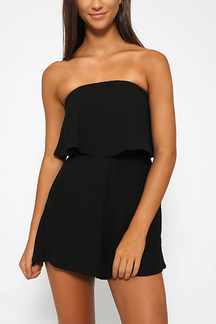 Off The Shoulder Playsuit with Layered Details in Black
