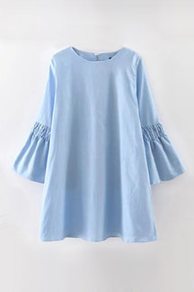 Round Neck Flared Sleeves Plain Color Casual Dress
